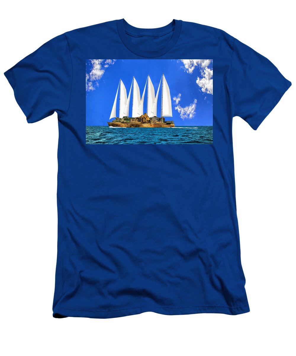 Ship Men's T-Shirt (Athletic Fit) featuring the mixed media Ship Of State by Dominic Piperata