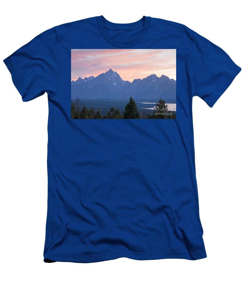 Grand Teton Np Men's T-Shirt (Athletic Fit) featuring the photograph Signal Mountain Grand Teton National Park by Fred Stearns