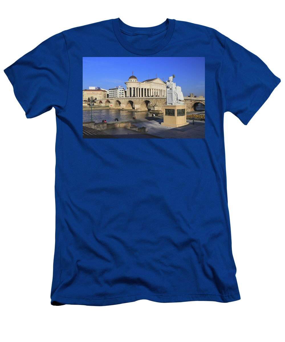 Archaeological Men's T-Shirt (Athletic Fit) featuring the photograph Skopje City Center Macedonia by Ivan Pendjakov
