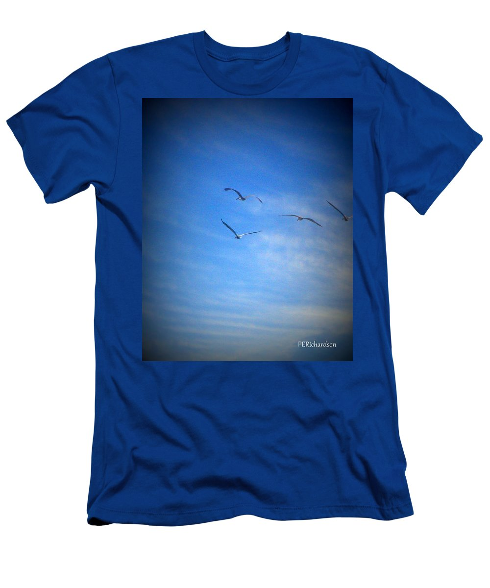 Seagulls Men's T-Shirt (Athletic Fit) featuring the photograph Slip The Surly Bonds by Priscilla Richardson