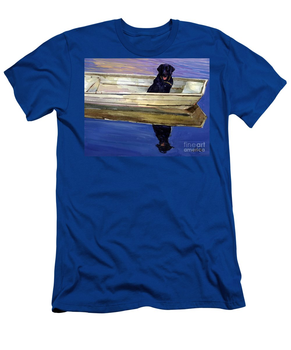Black Lab Men's T-Shirt (Athletic Fit) featuring the painting Slow Boat by Molly Poole