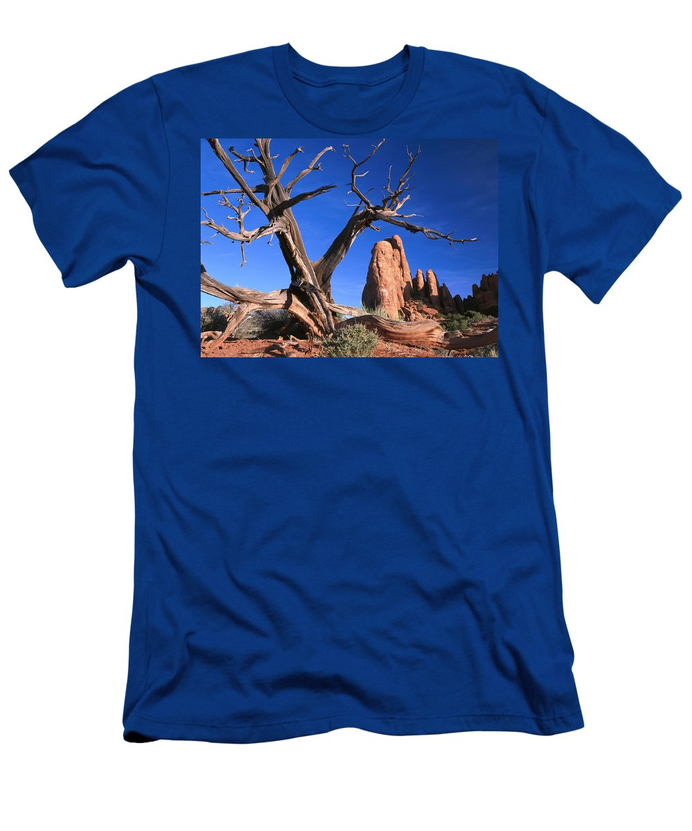 Feb0514 Men's T-Shirt (Athletic Fit) featuring the photograph Snag At Fiery Furnace Labyrinth Arches by Tim Fitzharris