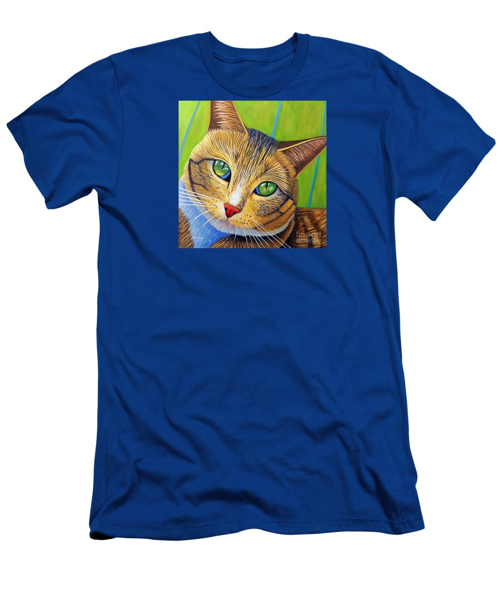 Cat Men's T-Shirt (Athletic Fit) featuring the painting Soul 2 Soul by Brian Commerford