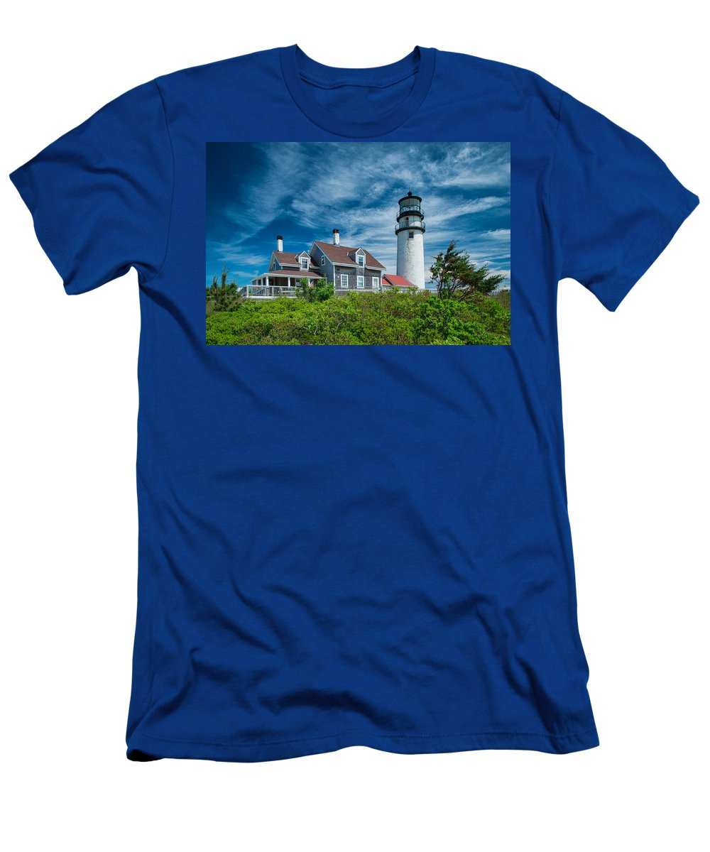 Cape Cod Men's T-Shirt (Athletic Fit) featuring the photograph Spring At Cape Cod Light by Michael Blanchette