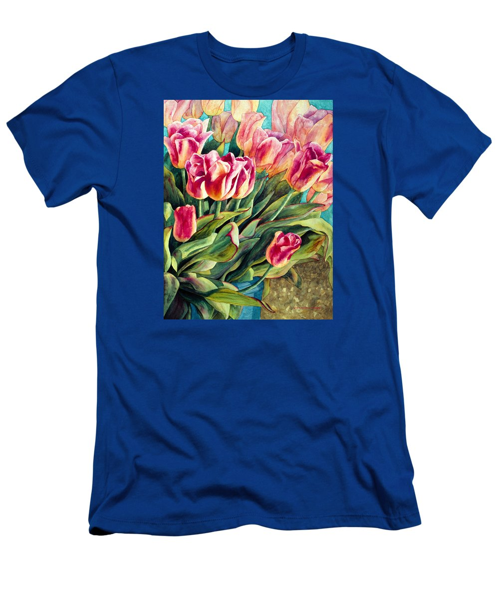 Flowers Men's T-Shirt (Athletic Fit) featuring the painting Spring Winds by Lynda Hoffman-Snodgrass