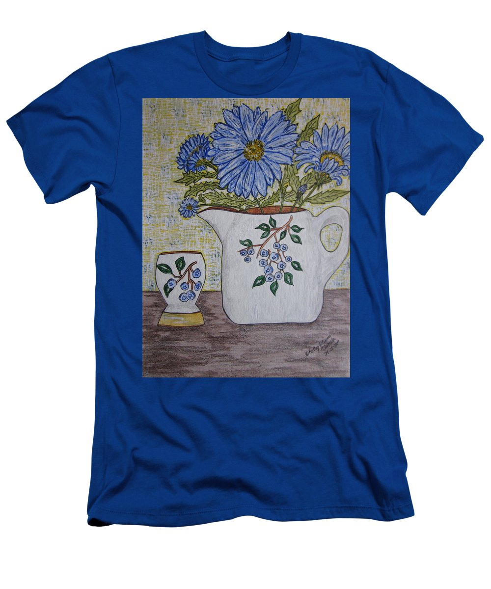Stangl Blueberry Pottery T-Shirt featuring the painting Stangl Blueberry Pottery by Kathy Marrs Chandler