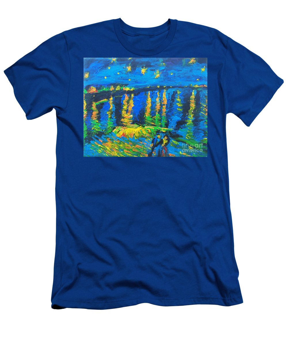 The Actor Men's T-Shirt (Athletic Fit) featuring the painting Starry Night Bridge by Eric Schiabor