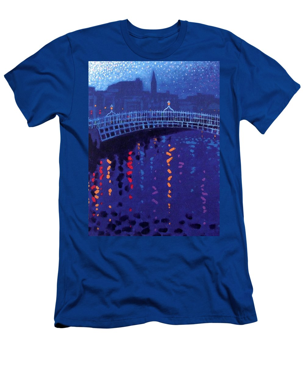 Acrylic Men's T-Shirt (Athletic Fit) featuring the painting Starry Night In Dublin by John Nolan