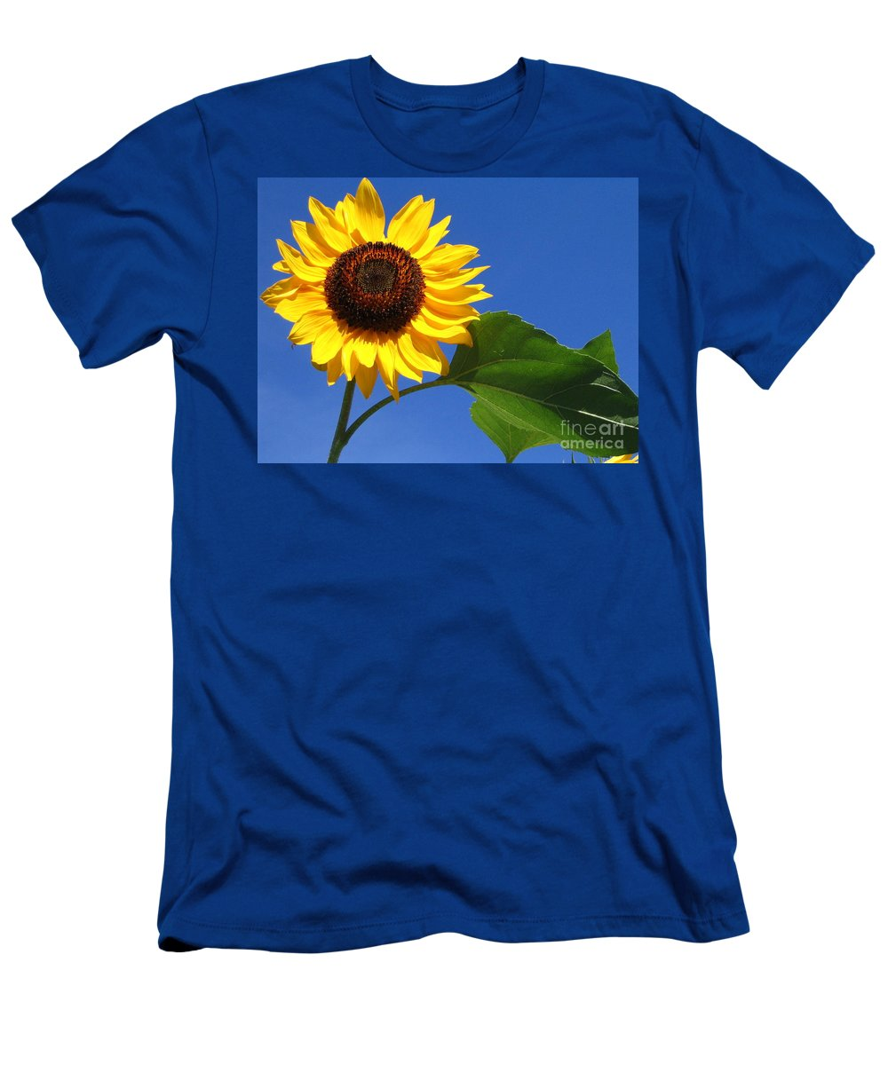 Sunflower Men's T-Shirt (Athletic Fit) featuring the photograph Sunflower Alone by Line Gagne
