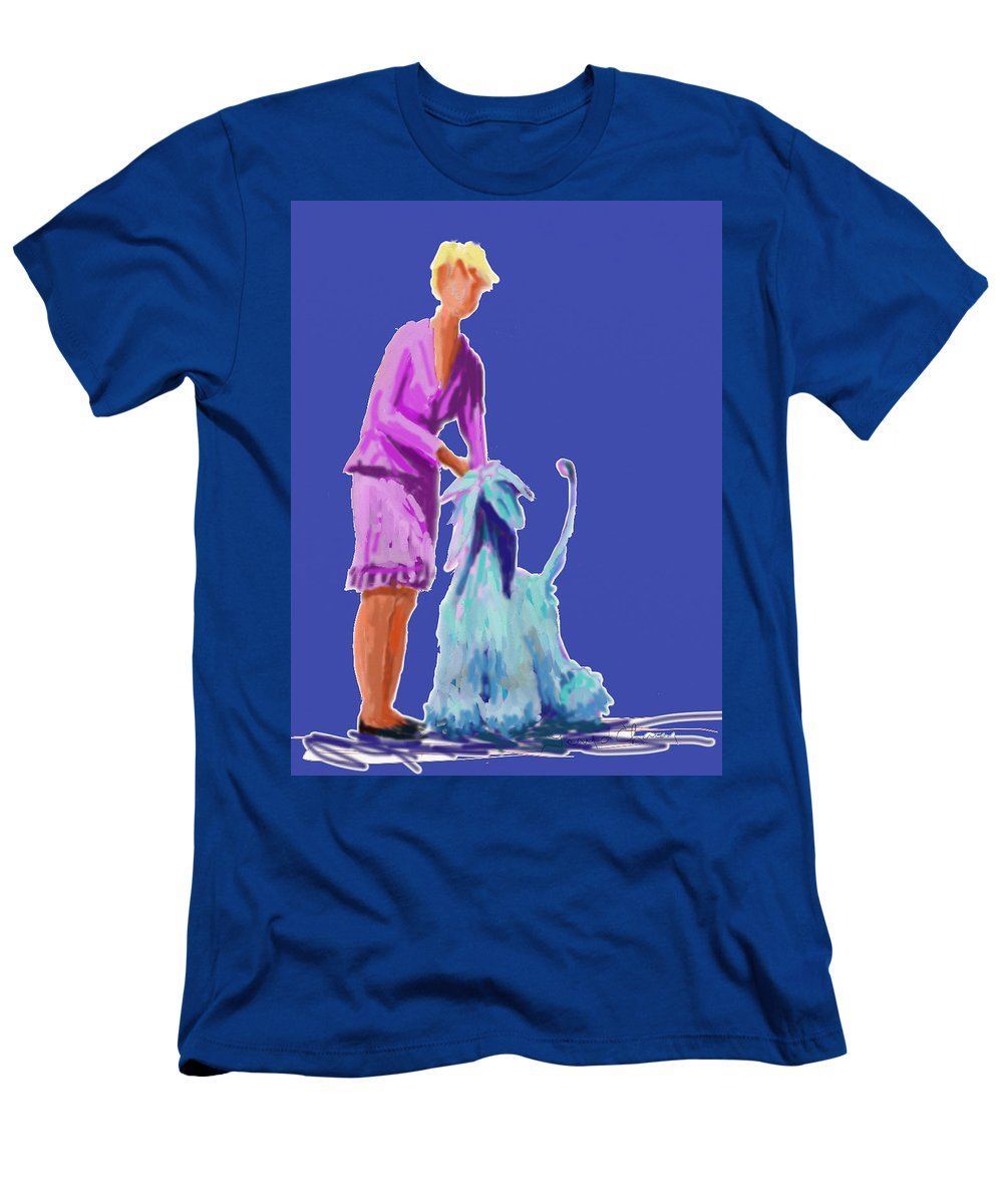 Dog Show Scene Men's T-Shirt (Athletic Fit) featuring the painting Sunflower In Blue by Terry Chacon