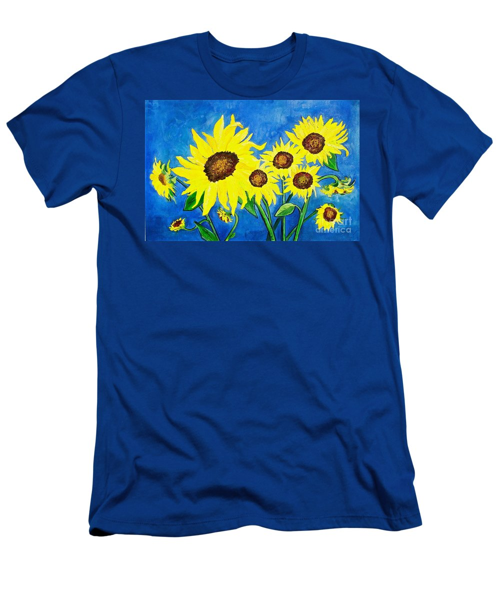 Sunflower Men's T-Shirt (Athletic Fit) featuring the painting Sunflowers by Virginia Ann Hemingson