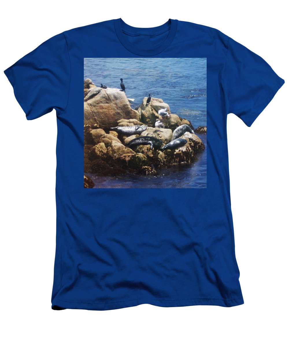 Sunning Seals Men's T-Shirt (Athletic Fit) featuring the photograph Sunning Seals by Pharris Art