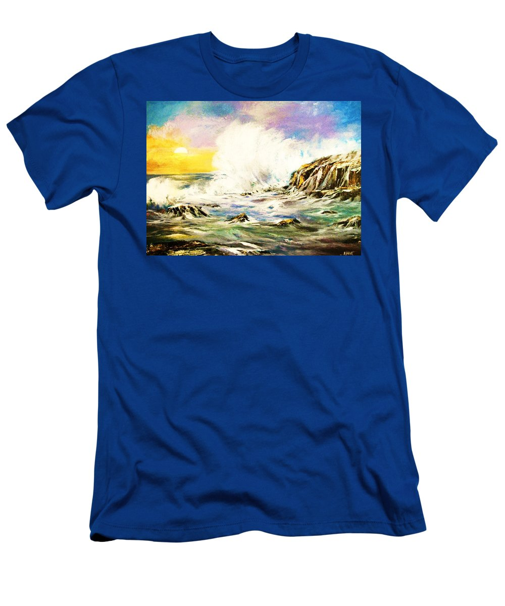 Seascapes Men's T-Shirt (Athletic Fit) featuring the painting Sunset Breakers by Al Brown