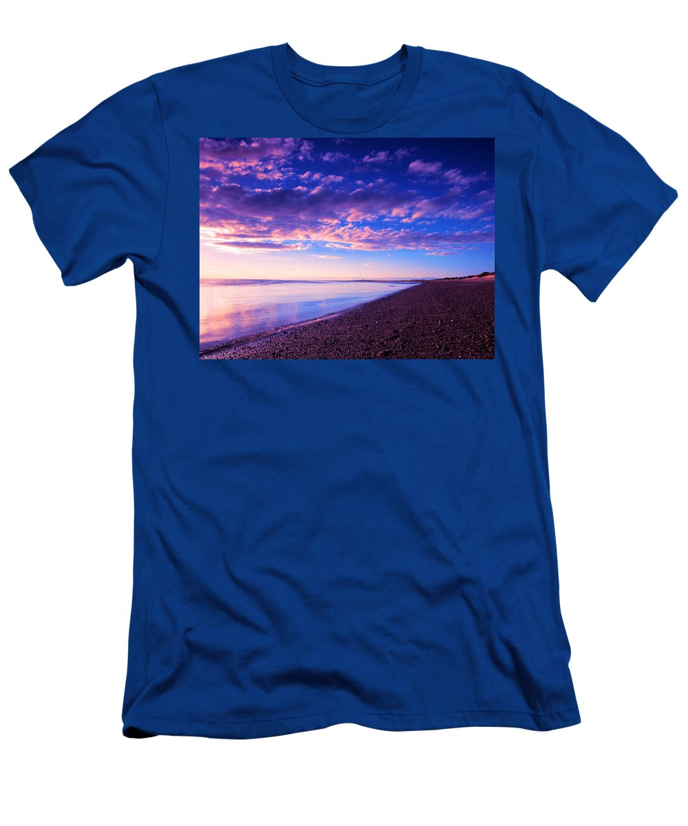 Sunset Men's T-Shirt (Athletic Fit) featuring the painting Sunset In Cape Cod Boston Massachusetts by Paul Ge