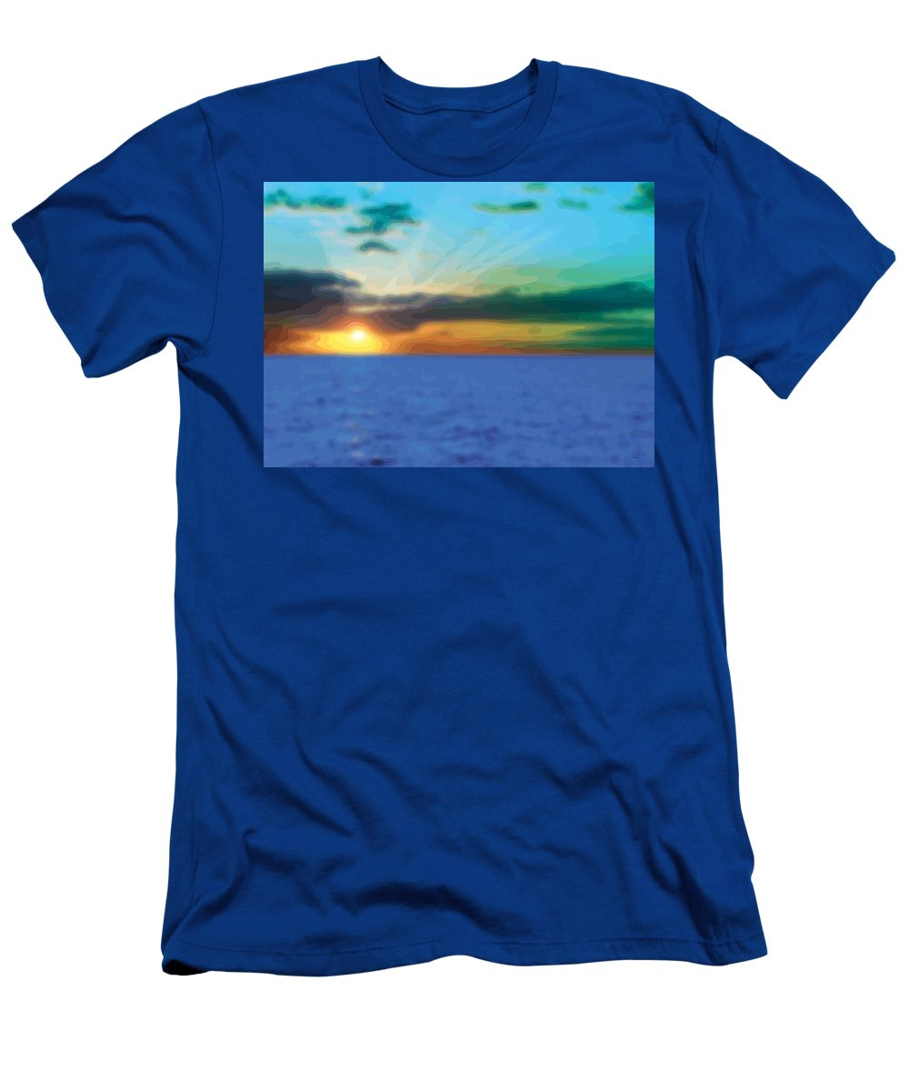 Abstract Men's T-Shirt (Athletic Fit) featuring the digital art Sunset Waters by James Kramer