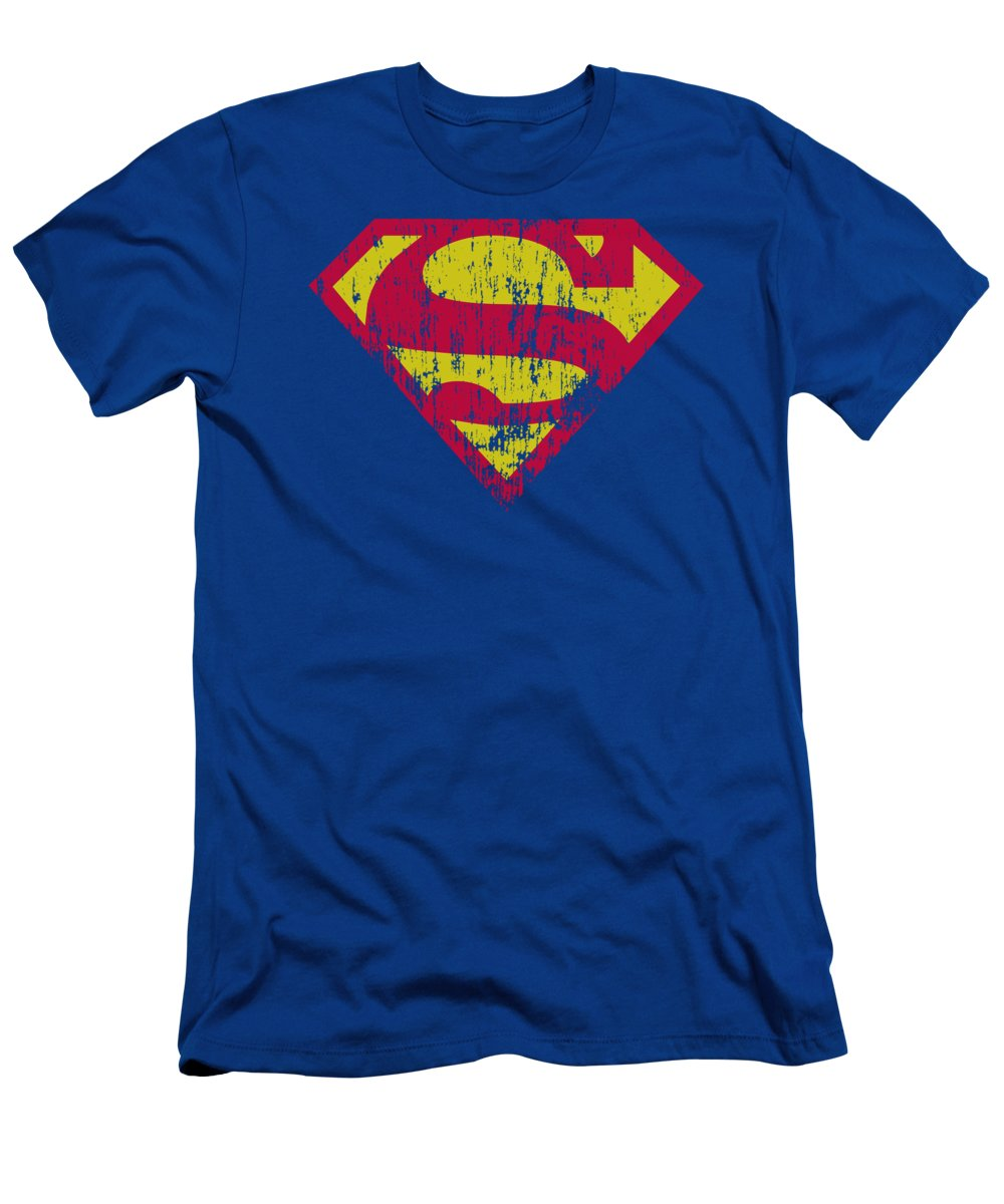 Superman T-Shirt featuring the digital art Superman - Classic Logo Distressed by Brand A