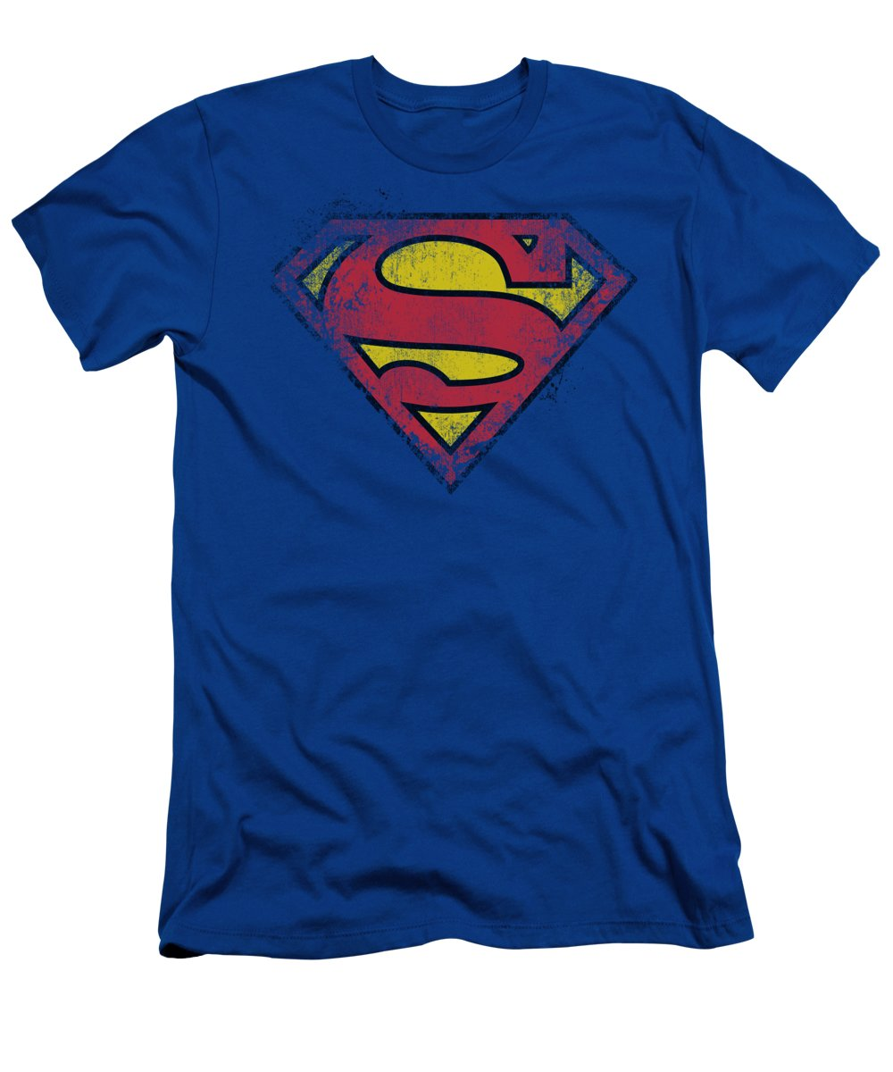 Superman T-Shirt featuring the digital art Superman - Destroyed Supes Logo by Brand A
