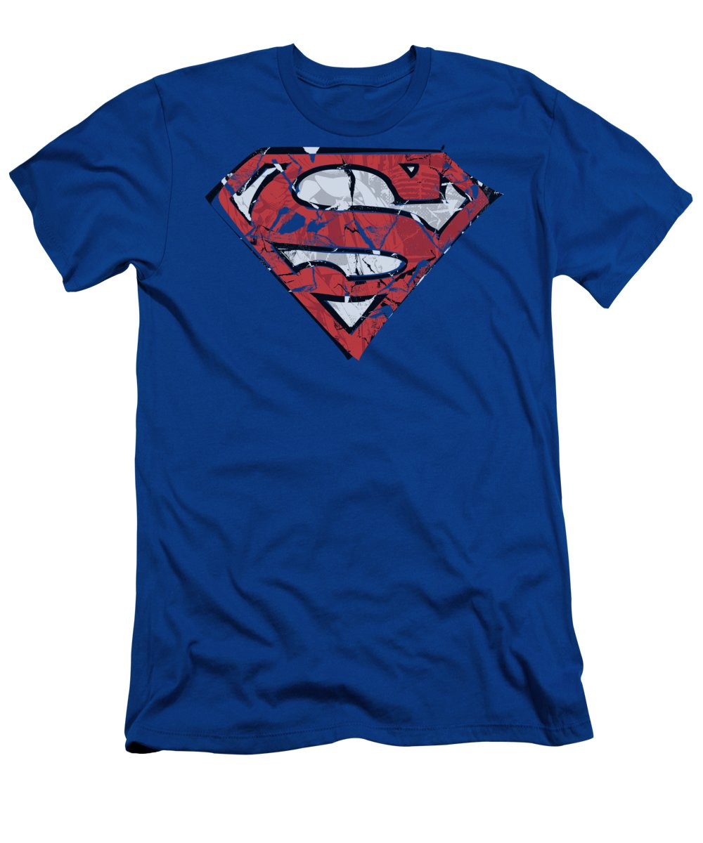 Superman T-Shirt featuring the digital art Superman - Ripped And Shredded by Brand A