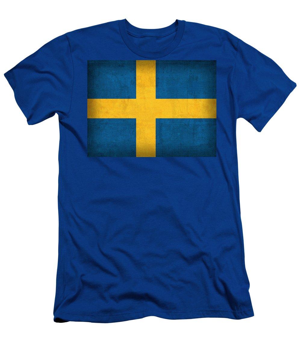 Sweden Flag Vintage Distressed Finish T-Shirt featuring the mixed media Sweden Flag Vintage Distressed Finish by Design Turnpike