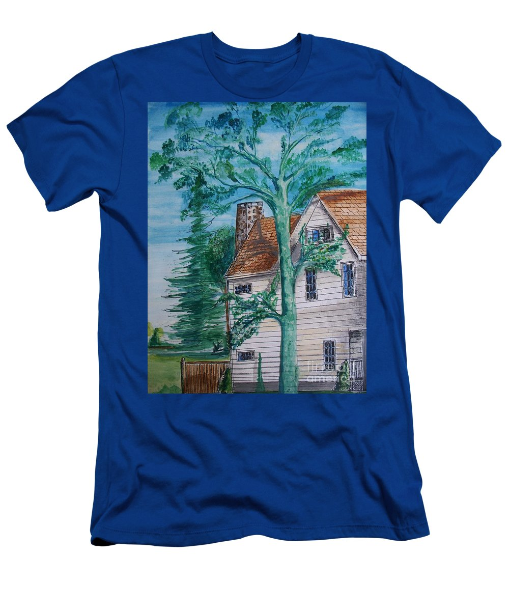Sycamore Tree Men's T-Shirt (Athletic Fit) featuring the painting Sycamore Tree Lllustration by Eric Schiabor