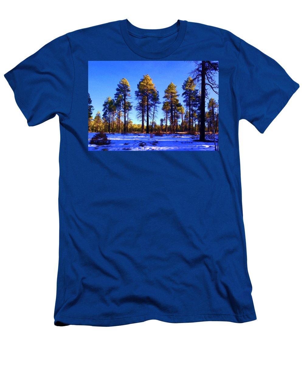 Ponderosa Pine Men's T-Shirt (Athletic Fit) featuring the painting Tall Ponderosa Pine by Jim Buchanan