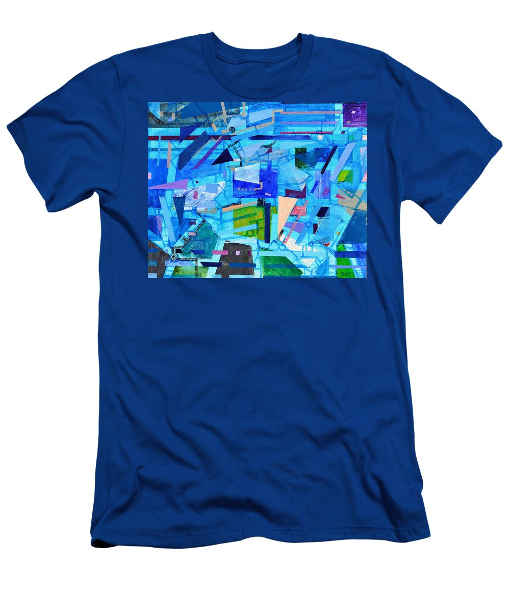 Music Men's T-Shirt (Athletic Fit) featuring the painting Techno Cool by Regina Valluzzi