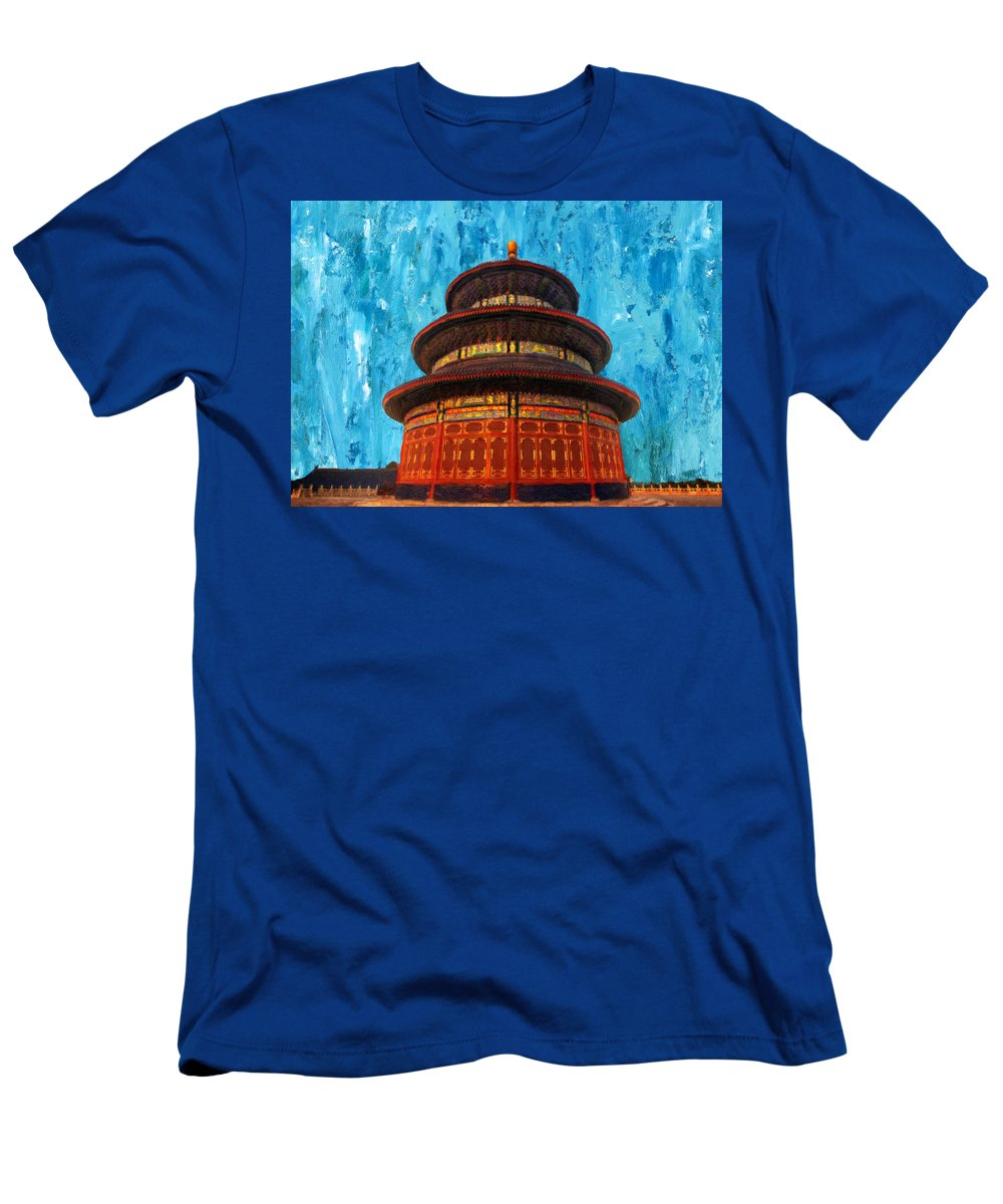 Heaven Men's T-Shirt (Athletic Fit) featuring the painting Temple Of Heaven by Jeelan Clark