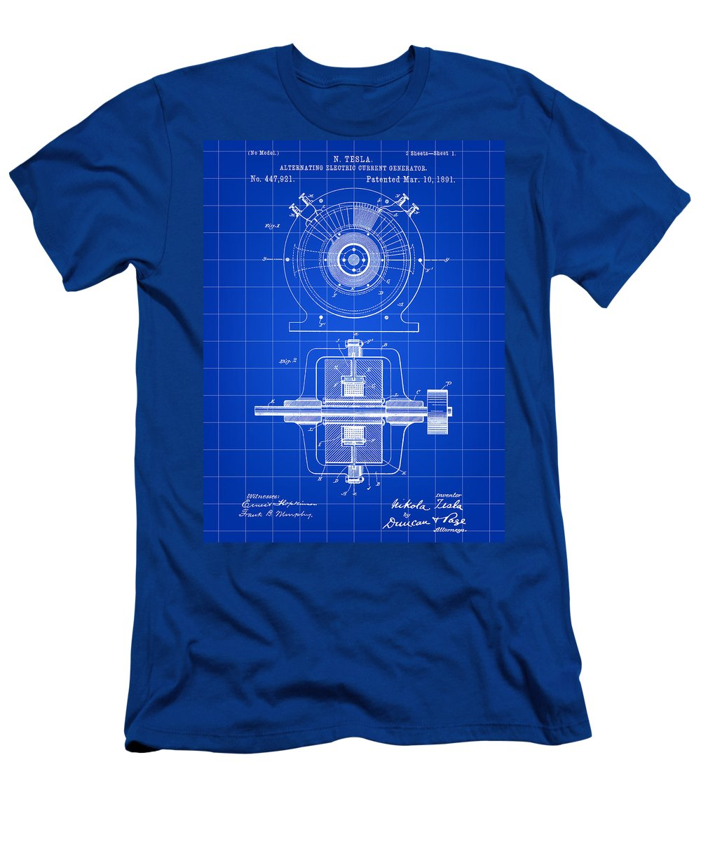 Tesla Men's T-Shirt (Athletic Fit) featuring the digital art Tesla Alternating Electric Current Generator Patent 1891 - Blue by Stephen Younts