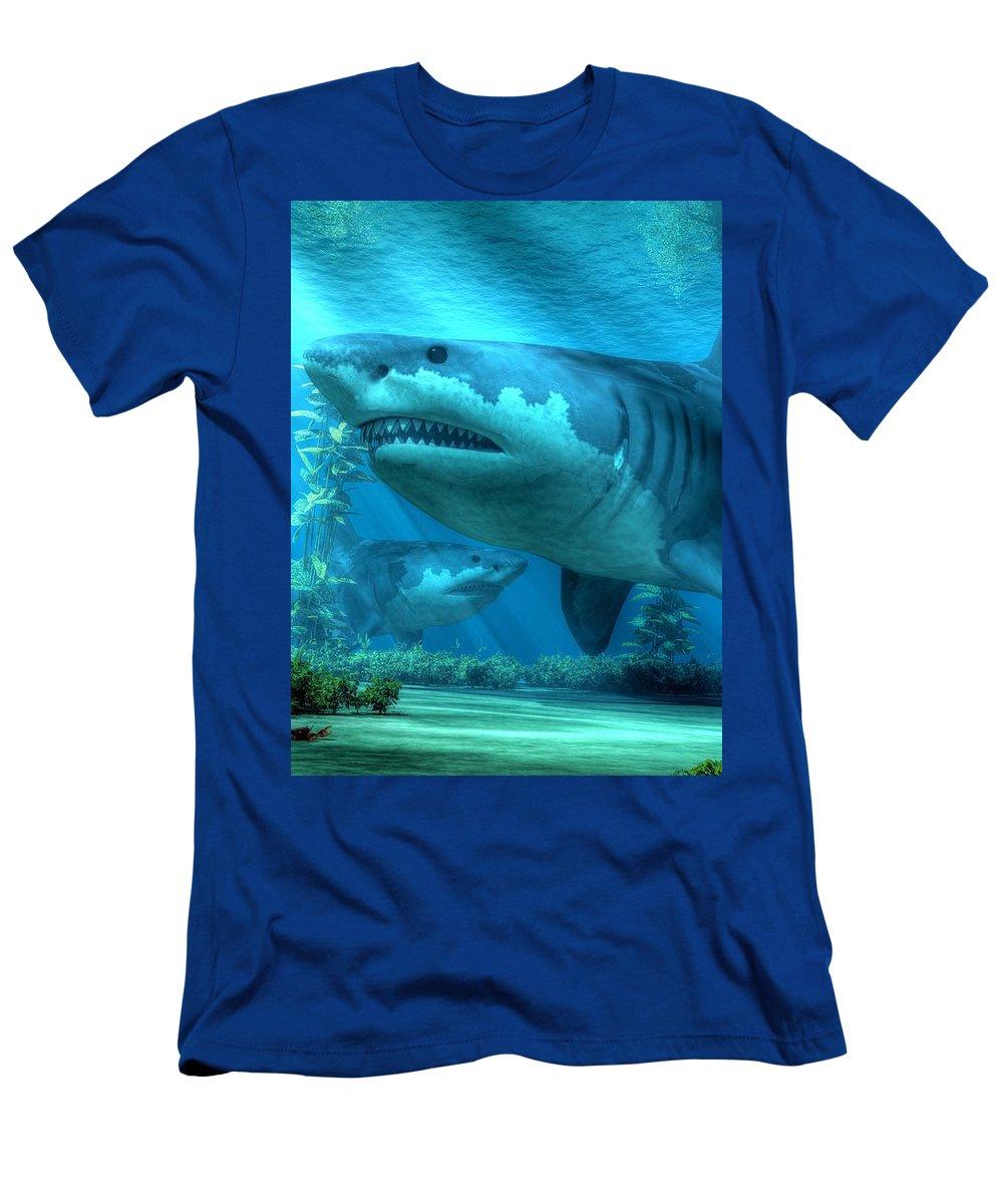 Men's T-Shirt (Athletic Fit) featuring the digital art The Biggest Shark by Daniel Eskridge