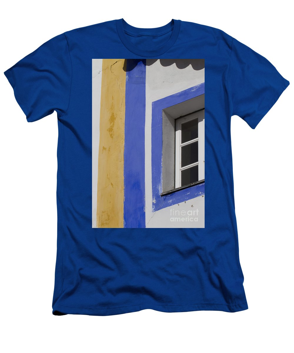 Architecture Men's T-Shirt (Athletic Fit) featuring the photograph The Blue Framed Window by Heiko Koehrer-Wagner