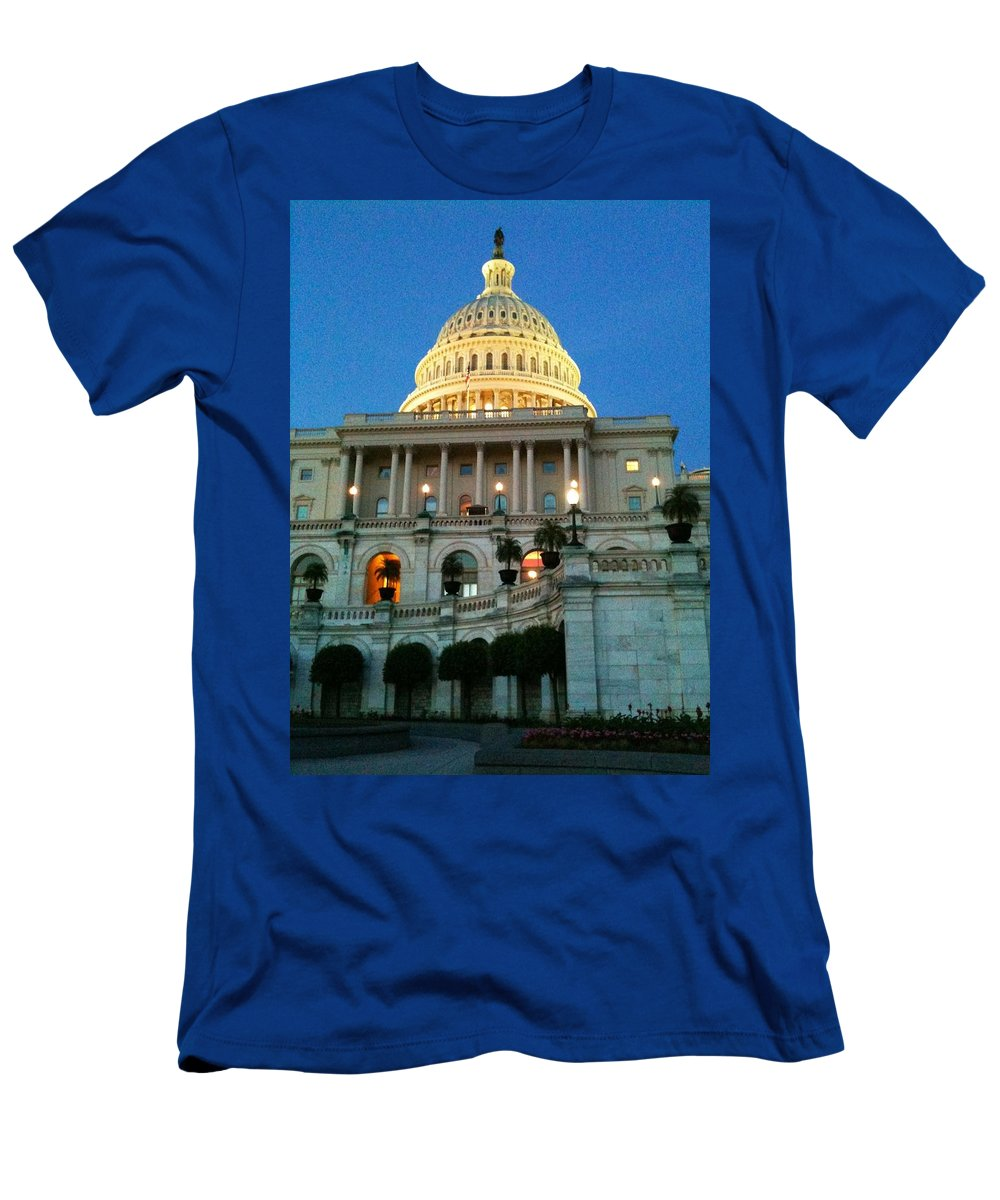 Capitol Hill Men's T-Shirt (Athletic Fit) featuring the photograph The Capitol At Dusk by Lois Ivancin Tavaf