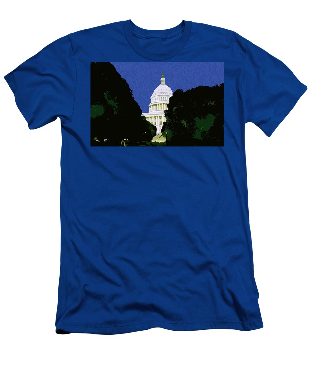 Capitol Men's T-Shirt (Athletic Fit) featuring the painting The Capitol by Pharris Art
