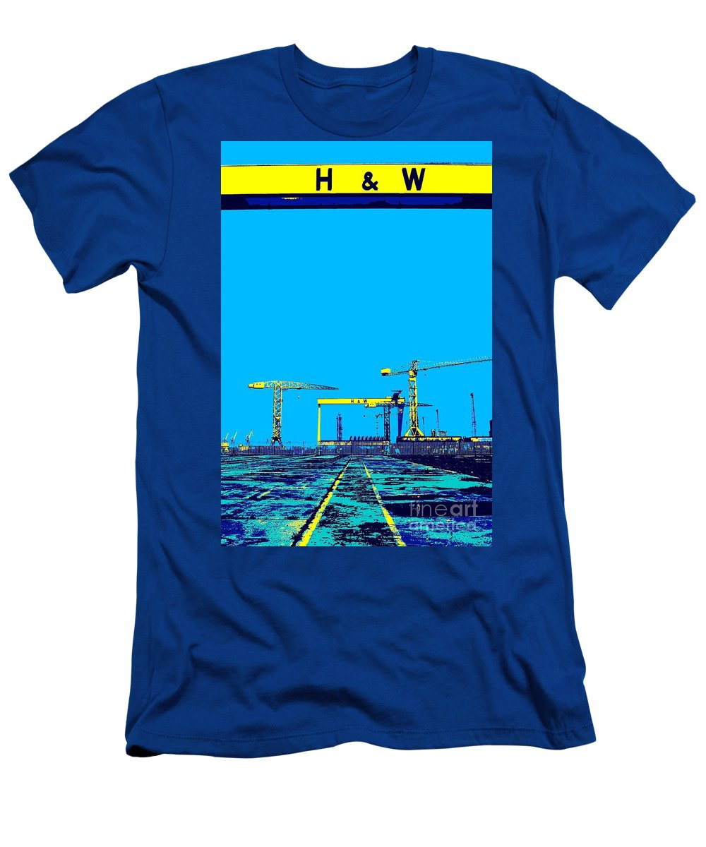 Belfast Men's T-Shirt (Athletic Fit) featuring the photograph The Docks by Maria Mitchell