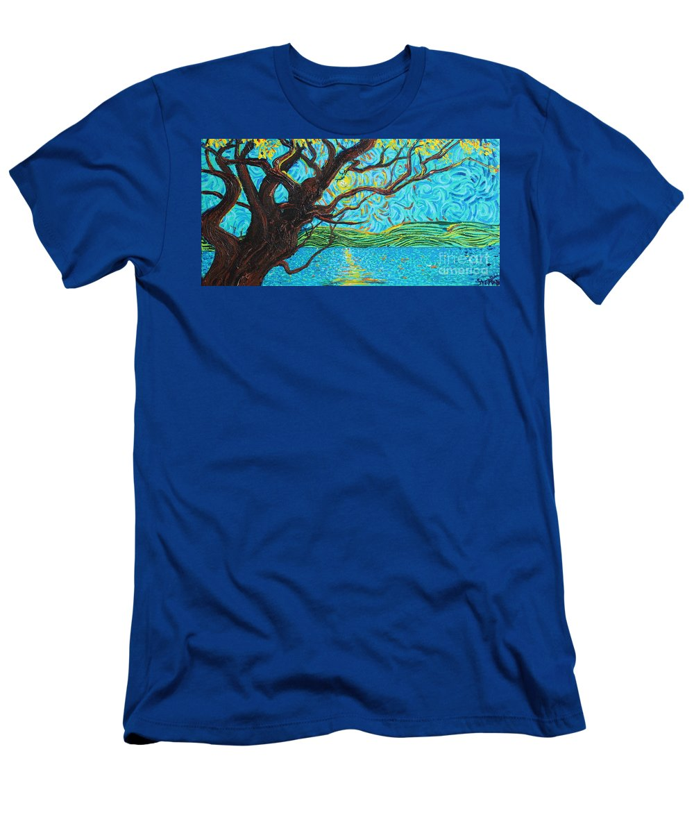 Landscape Men's T-Shirt (Athletic Fit) featuring the painting The Mermaid Tree by Stefan Duncan