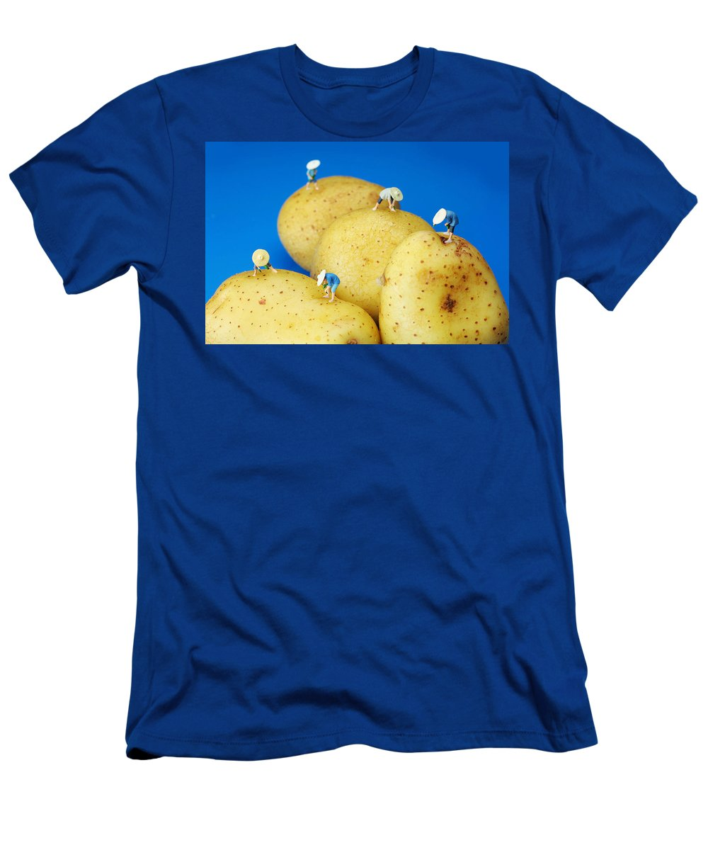 Planting Men's T-Shirt (Athletic Fit) featuring the photograph The Planting On Potatoes Little People On Food by Paul Ge