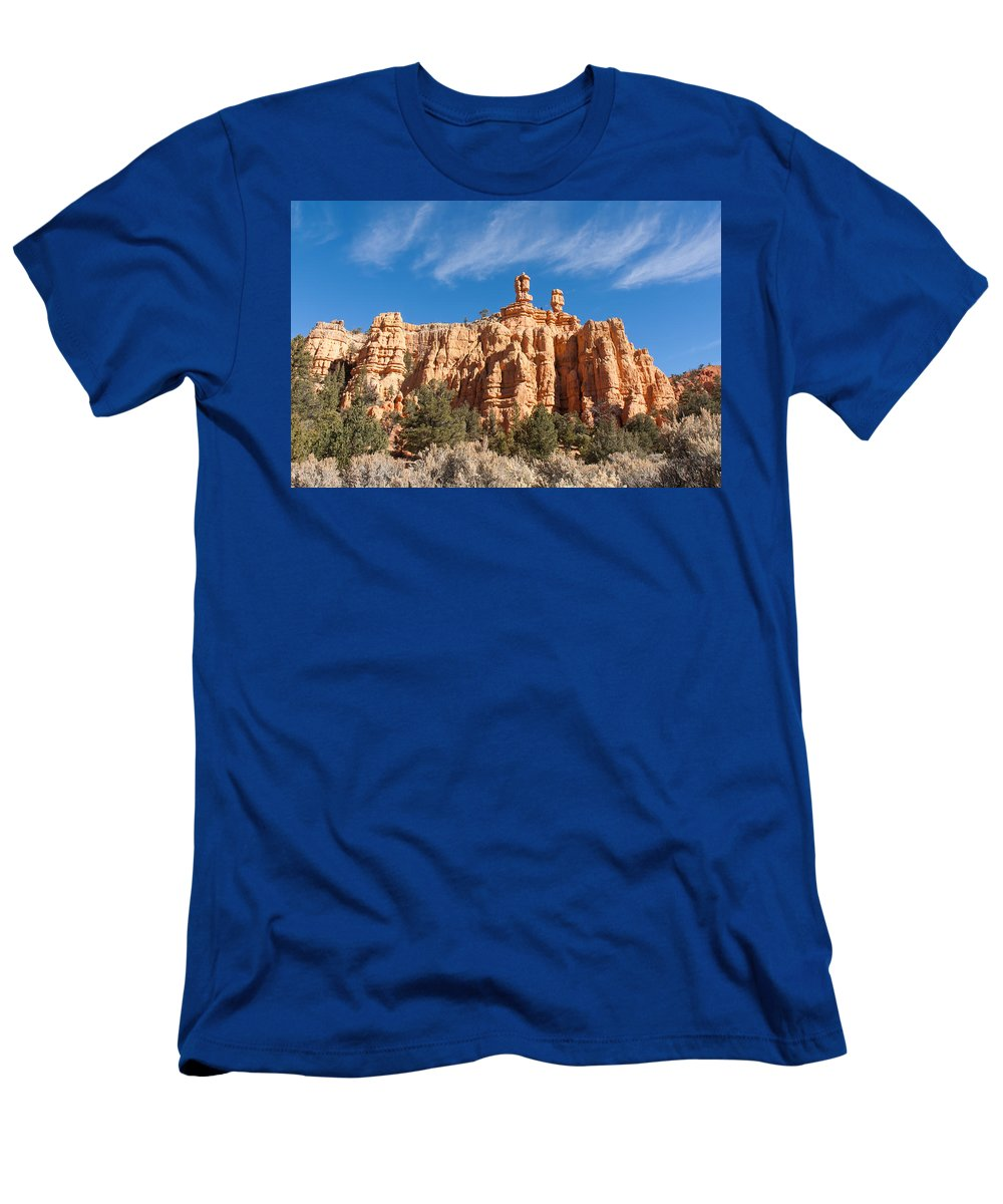 Red Canyon State Park Men's T-Shirt (Athletic Fit) featuring the photograph The Speaker And The Seer by John M Bailey