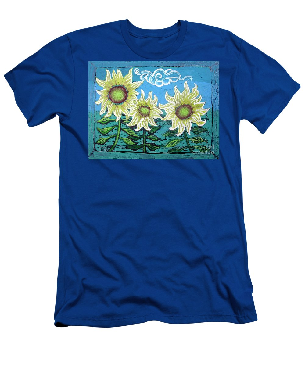 Sunflower Men's T-Shirt (Athletic Fit) featuring the painting Three Sunflowers by Genevieve Esson