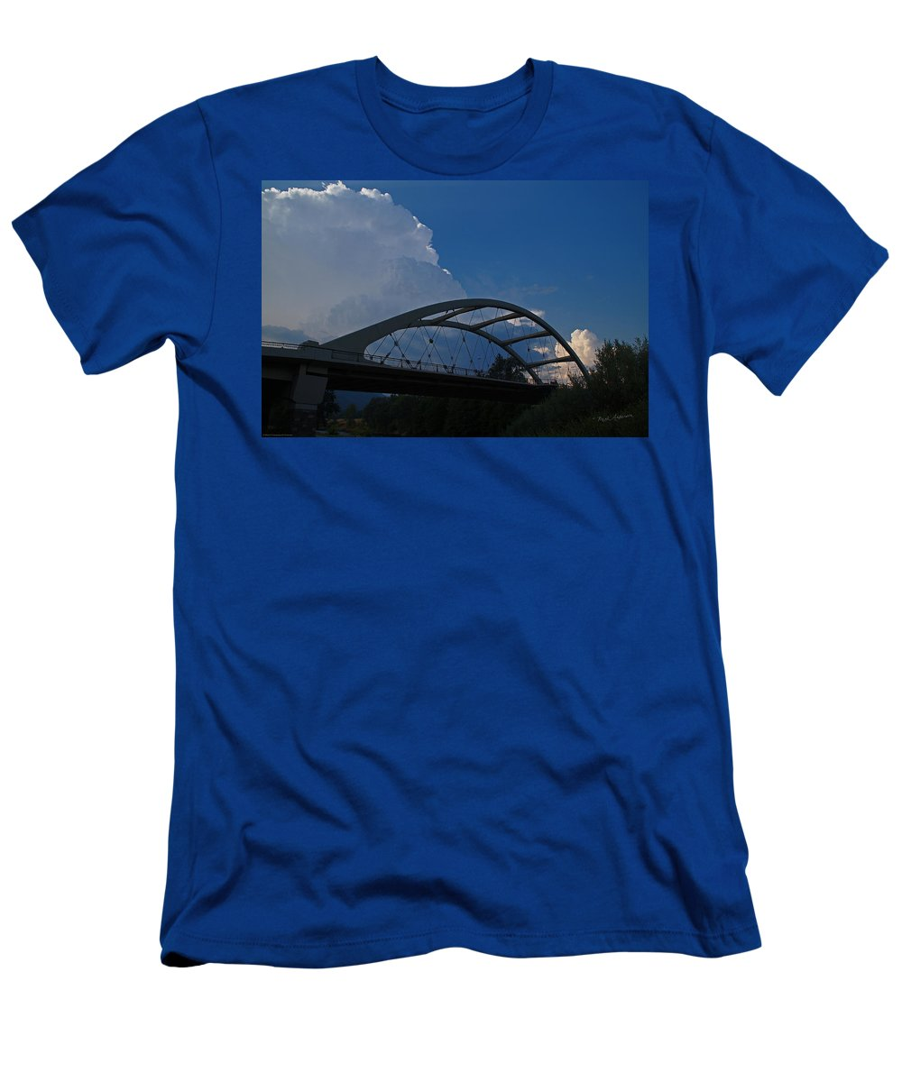 Thunder Men's T-Shirt (Athletic Fit) featuring the photograph Thunder Over The Rogue River Bridge by Mick Anderson