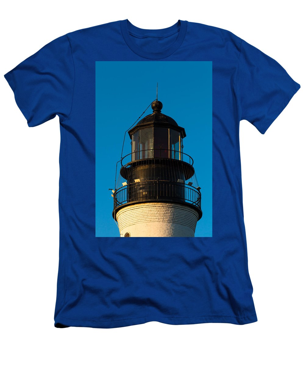 Aid To Navigation Men's T-Shirt (Athletic Fit) featuring the photograph Top Of The Key West Lighthouse by Ed Gleichman
