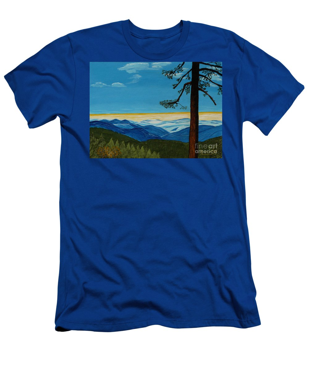 Mountain Men's T-Shirt (Athletic Fit) featuring the painting Tranquil Solitude by Anthony Dunphy