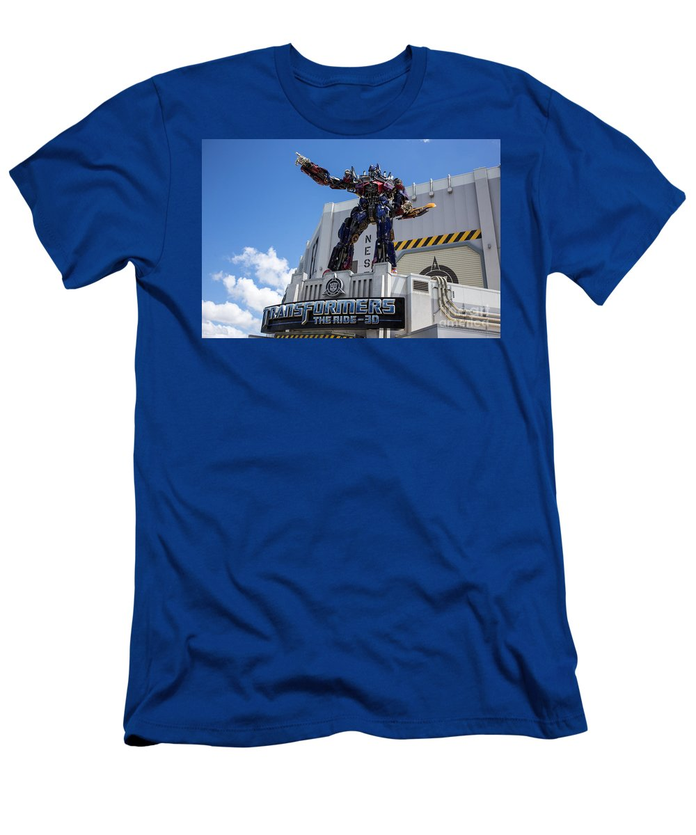 Florida Men's T-Shirt (Athletic Fit) featuring the photograph Transformers The Ride 3d Universal Studios by Edward Fielding