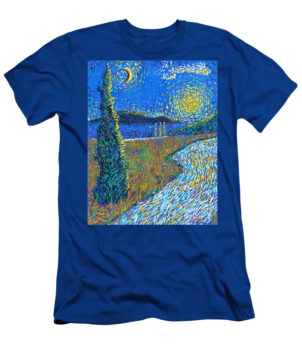 Landscape Men's T-Shirt (Athletic Fit) featuring the painting Tree By The Road by Stefan Duncan