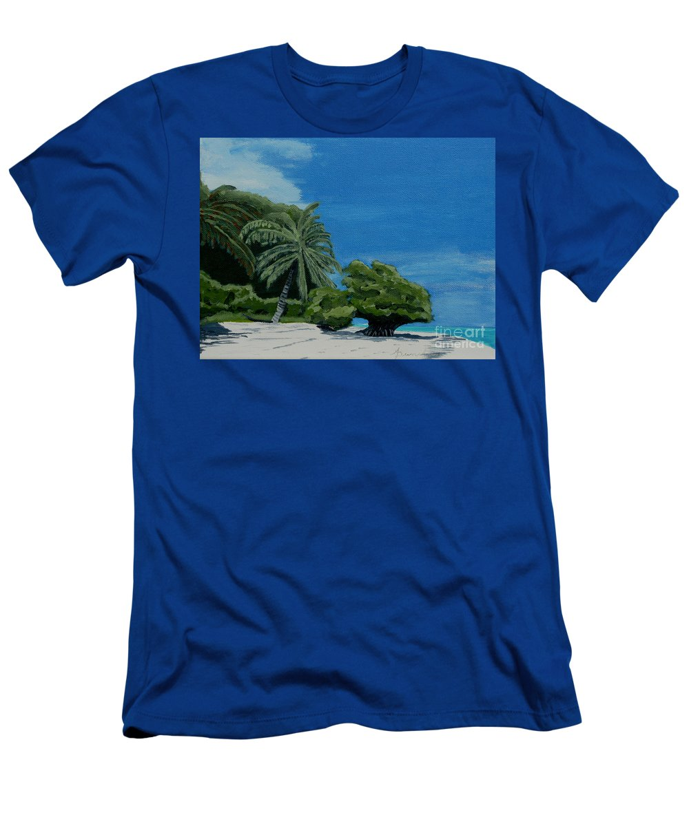 Beach Men's T-Shirt (Athletic Fit) featuring the painting Tropical Beach by Anthony Dunphy