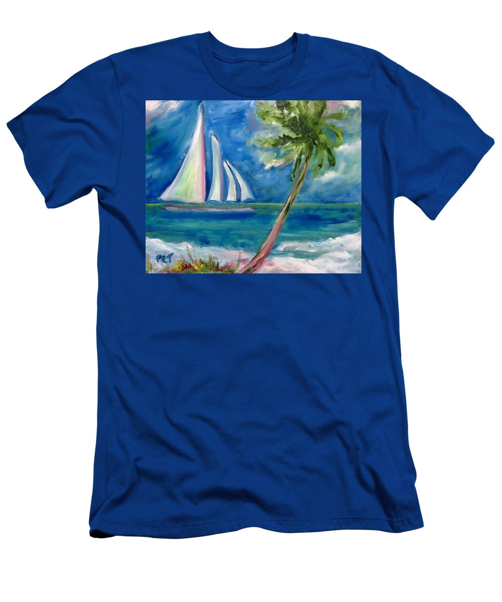 Sailboat Men's T-Shirt (Athletic Fit) featuring the painting Tropical Sails by Patricia Taylor
