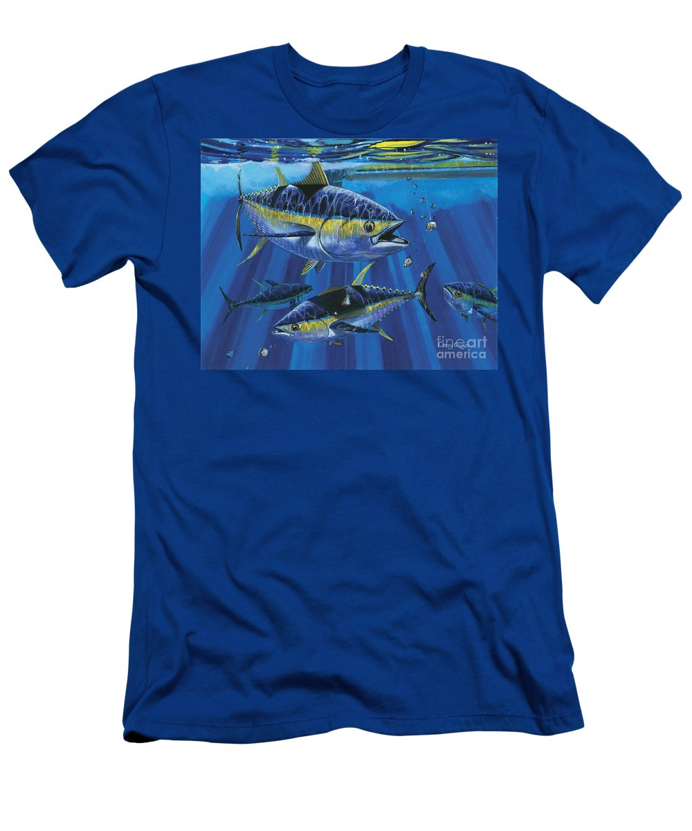 Tuna Men's T-Shirt (Athletic Fit) featuring the painting Tuna Blitz Off0039 by Carey Chen