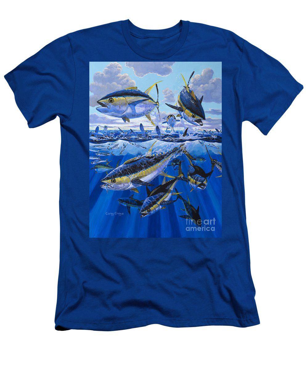 Tuna Men's T-Shirt (Athletic Fit) featuring the painting Tuna Rampage Off0018 by Carey Chen