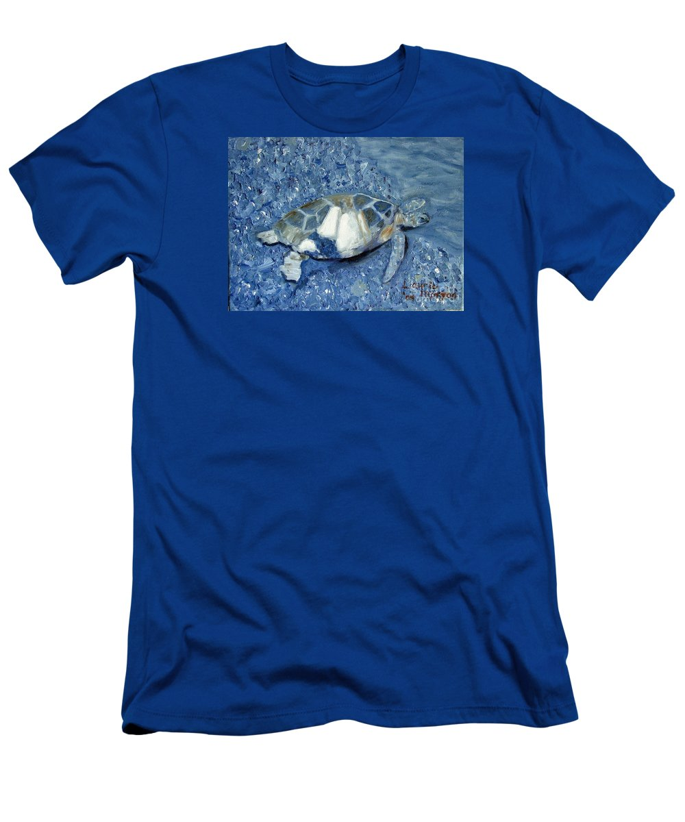 Turtle T-Shirt featuring the painting Turtle on Black Sand Beach by Laurie Morgan