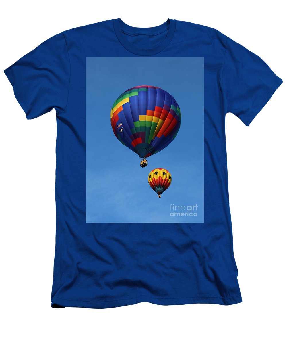 Balloons Men's T-Shirt (Athletic Fit) featuring the photograph Two Colorful Balloons by Carol Groenen