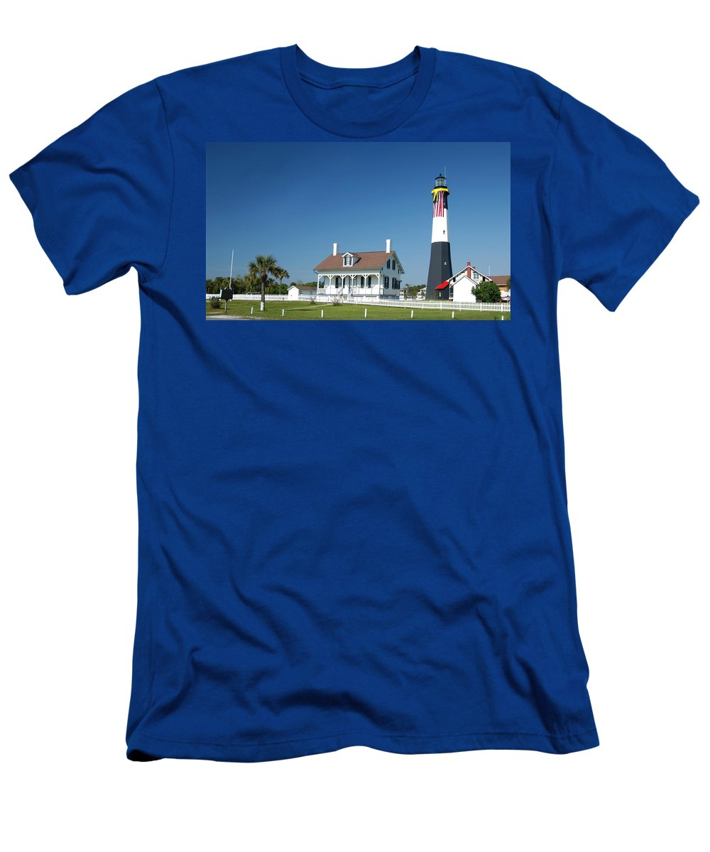 Tybee Island Lighthouse Men's T-Shirt (Athletic Fit) featuring the photograph Tybee Island Lighthouse Georgia by Bob Pardue