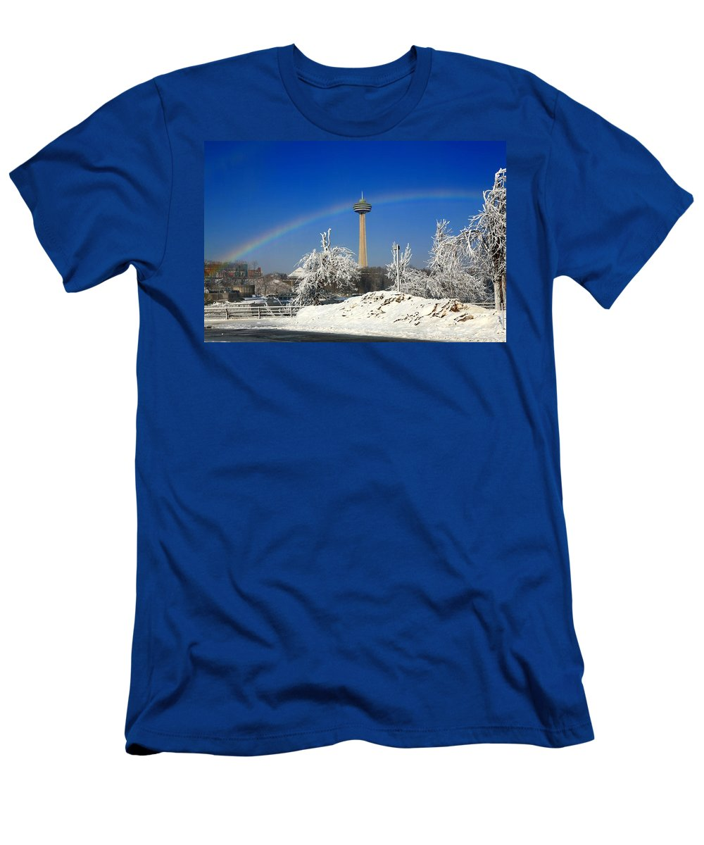 Niagara Falls Men's T-Shirt (Athletic Fit) featuring the photograph Under The Rainbow by Eric Swan